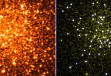 The picture of NGC 288 in the optical (left side; credit: ESO/DSS) shows numerous sun-like cooler stars and it is hard to locate hot stars. The image of the same cluster in the ultraviolet (right side, taken by UVIT, yellow is the near-UV and white is the far-UV image; credit: Snehalata Sahu) shows only hot stars as the cooler stars become undetectable.