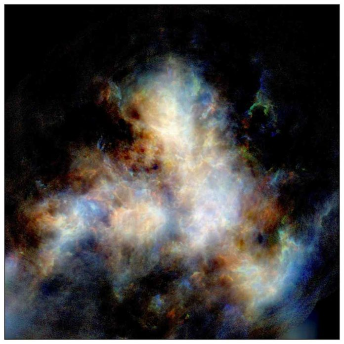 A radio image of hydrogen gas in the Small Magellanic Cloud as observed by CSIRO's ASKAP telescope. Image credit: Naomi McClure-Griffiths et al, CSIRO's ASKAP telescope.