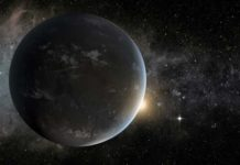 An artist's concept of a super-Earth in the habitable zone of a star smaller and cooler than the sun. Such large planets could have long-lasting magma oceans that generate magnetic fields capable of protecting incipient life. The graphic was created to model Kepler-62f, one of many exoplanets discovered by NASA's now inoperable Kepler space telescope. (Image courtesy of NASA Ames/JPL-Caltech/Tim Pyle)