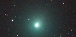 Comet 46P/Wirtanen will be making a close pass of Earth December 16, 2018. It will be at its closest distance to Earth in over four centuries. It is a member of the Jupiter family of comets - their farthest point from the sun being near the orbit of Jupiter. It will be bright enough to see with the naked eye above the eastern horizon all month long, and can be seen even better with a telescope and/or binoculars. This 120 second image of the comet was taken Dec. 2 by an iTelescope 50 mm refractor located at an observatory near Mayhill, New Mexico. The streak below the comet was produced by a rocket body (upper stage) passing through the telescope's field of view during the exposure. Specifically, the upper stage is the one that placed the Indonesian Garuda 1 communications satellite into geostationary orbit back in February of 2000. At the time of this image, the Garuda 1 upper stage was 15,880 miles from the observatory; Comet Wirtanen was 10.3 million miles distant. Image Credit: NASA