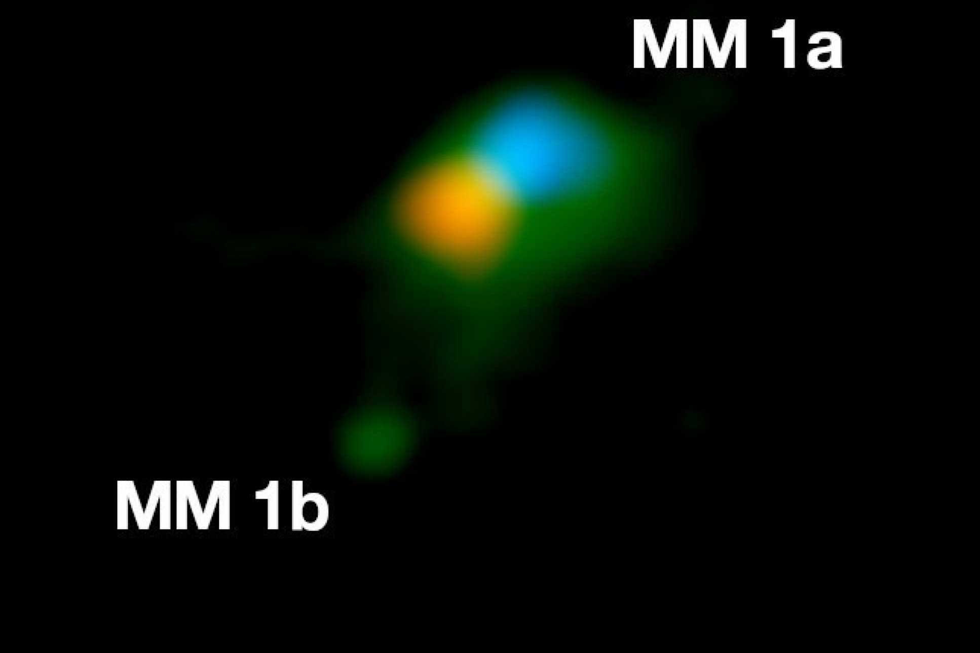 Observation of the dust emission (green) and hot gas rotating in the disc around MM 1a (red is receding gas, blue is approaching gas). MM 1b is seen the lower left. Credit: J. D. Ilee / University of Leeds.