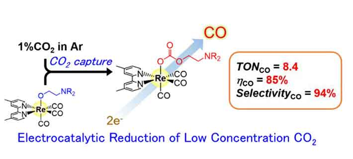 Representation of the electrocatalytic reduction system Electrocatalytic reduction of low-concentration CO2 was achieved using a rhenium-based complex with high CO2-capturing ability.