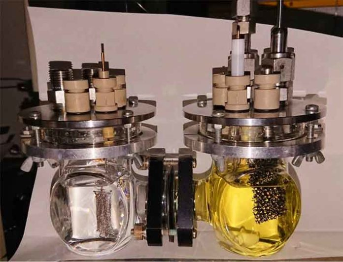 Photograph of the experimental setup for bulk electrolysis The CO2 reduction reaction takes place in the cathodic chamber shown on the right.
