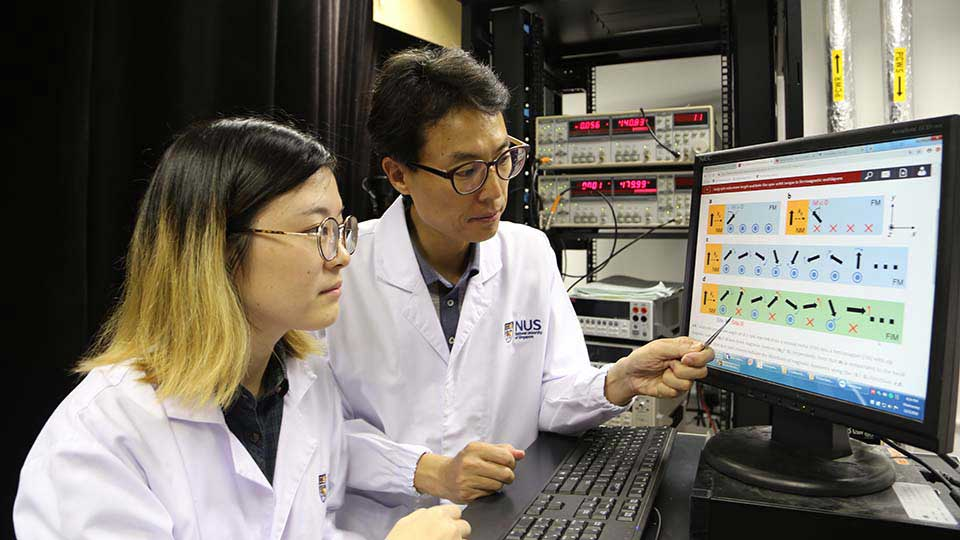 A team led by Associate Professor Yang Hyunsoo (second from left) from the National University of Singapore's Faculty of Engineering has discovered that ferrimagnet devices can manipulate digital information 20 times more efficiently and with 10 times more stability than commercial spintronic digital memories.