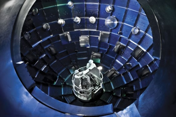 The central core of the large laser-based inertial confinement fusion research device of the National Ignition Facility in the USA.