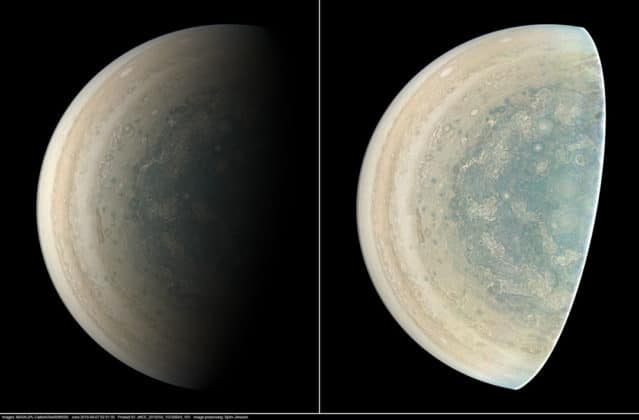 This image was taken at 7:21 p.m. PDT (10:21 p.m. EDT) on Sept. 6, 2018, as the spacecraft performed its 15th close flyby of Jupiter. The version of the image on the left side shows Jupiter in approximate true color, while the same image on the right has been processed to bring out detail close to the terminator and reveals four of the five southern circumpolar cyclones plus the cyclone in the center. Citizen scientist Björn Jónsson created this image using data from the spacecraft's JunoCam imager. Credits: NASA/JPL-Caltech/SwRI/MSSS/Björn Jónsson