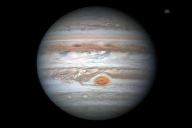 This Earth-based observation of Jupiter and the South Tropical Disturbance approaching the Great Red Spot was captured on Jan. 26, 2018. Amateur astronomer Christopher Go took and processed this image. Credits: Christopher Go