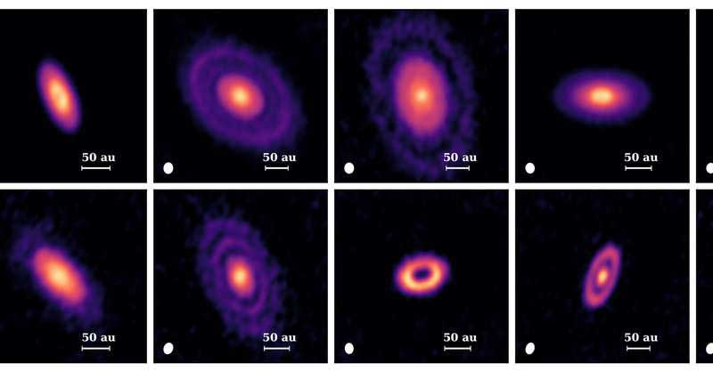 Until recently, protoplanetary disks were believed to be smooth, like pancake-like objects. The results from this study show that some disks are more like doughnuts with holes, but even more often appear as a series of rings. The rings are likely carved by planets that are otherwise invisible to us. Credit: Feng Long