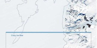 The horizontal blue line is the travel path for ICESat-2. The lower line shows some of its first measurements. This satellite can capture steep terrain and measure elevation much more precisely than its predecessor.NASA's Earth Observatory/Joshua Stevens