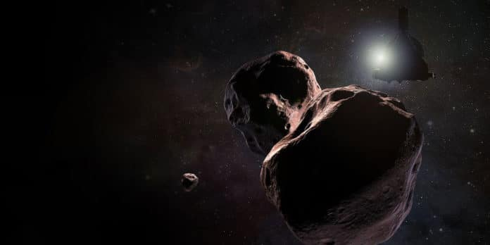 An artist's impression of NASA's New Horizons spacecraft encountering Ultima Thule (2014 MU69), a Kuiper Belt object that orbits one billion miles beyond Pluto, on Jan. 1, 2019. NASA/Johns Hopkins University Applied Physics Laboratory/Southwest Research Institute/Steve Gribben