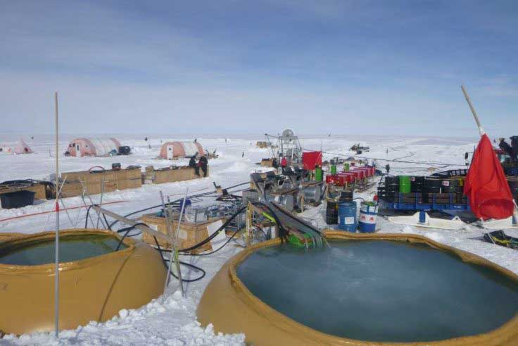 The team has been working at the BEAMISH camp in West Antarctica since November 2018. Credit: British Antarctic Survey