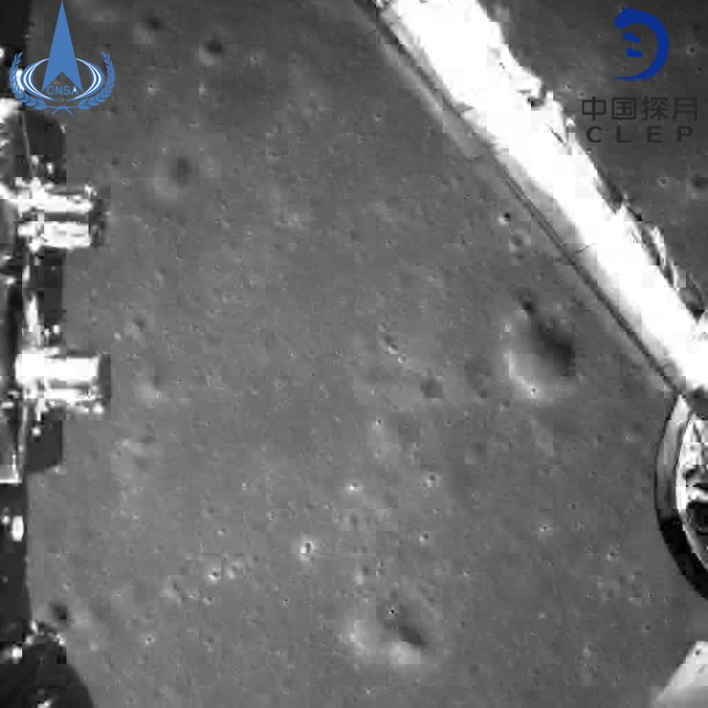 Photo provided by the China National Space Administration on Jan. 3, 2019 shows an image taken by China's Chang'e-4 probe during its landing process. China's Chang'e-4 probe touched down on the far side of the moon Thursday, becoming the first spacecraft soft-landing on the moon's uncharted side never visible from Earth. The probe, comprising a lander and a rover, landed at the preselected landing area on the far side of the moon at 10:26 a.m. Beijing Time (0226 GMT), the China National Space Administration announced. (Xinhua)