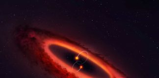 This double star system is flips planet-forming disk into pole position
