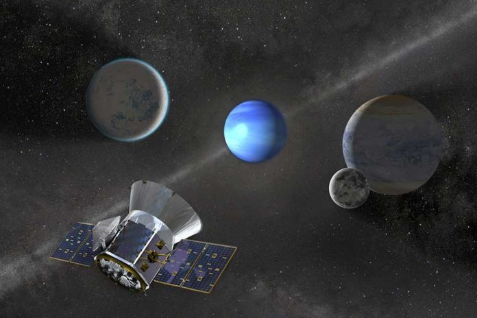 NASA's TESS mission, which will survey the entire sky over the next two years, has already discovered three new exoplanets around nearby stars. Image: NASA's Goddard Space Flight Center, edited by MIT News