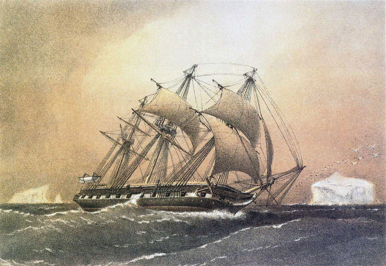 The HMS Challenger, a three-masted wooden sailing ship originally designed as a British warship, was used for the first modern scientific expedition to explore the world's ocean and seafloor. Gebbie and Huybers compared the cooling trend found in the model to ocean temperature measurements taken by scientists aboard the HMS Challenger in the 1870s and modern observations from the World Ocean Circulation Experiment of the 1990s. (Painting of the HMS Challenger by William Frederick Mitchell originally published for the Royal Navy.)