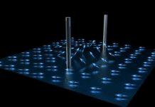 Representation of the spin vectors of the liquid helium as they form half quantum vortices. CREDIT Ella Maru Studios