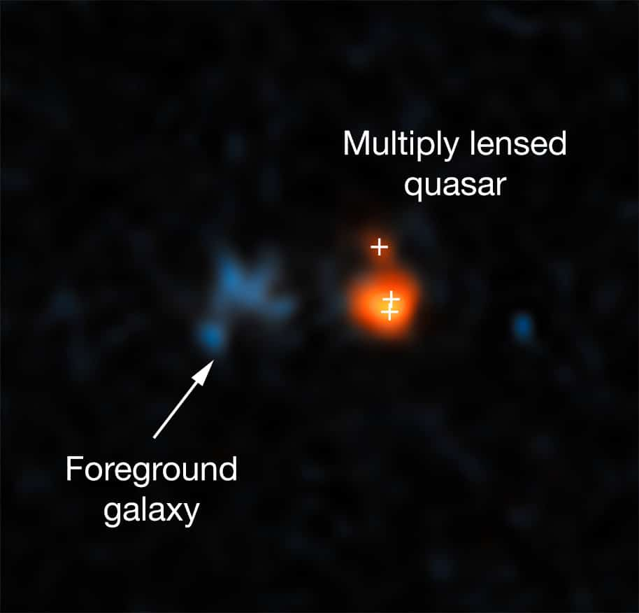 This image shows the distant quasar J043947.08+163415.7 as it was observed with the NASA/ESA Hubble Space Telescope. The quasar is one of the brightest objects in the early Universe. However, due to its distance it only became visible as its image was made brighter and larger by gravitational lensing. The system of the lensed images and the actual lens is so compact that Hubble is the only optical telescope able to resolve it.