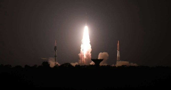 An Indian Polar Satellite Launch Vehicle takes off from Sriharikota in Andhra Pradesh carrying a micro-satellite designed by school children
