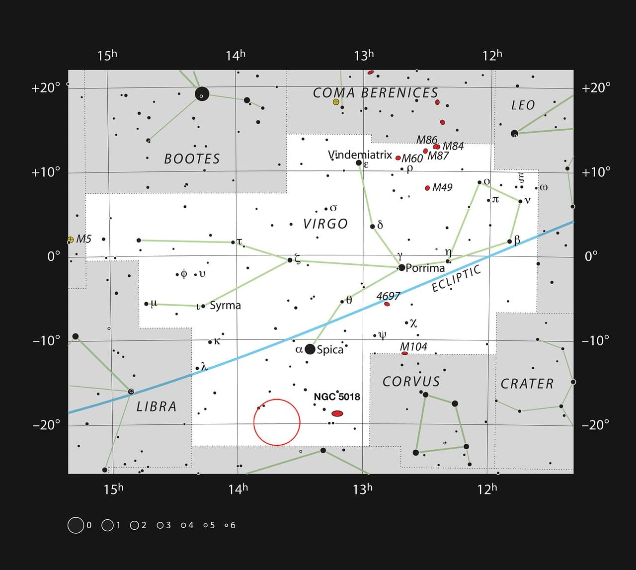 This chart shows the location of the planetary nebula ESO 577-24 in the constellation of Virgo (The Virgin). The map includes most of the stars visible to the unaided eye under good conditions, and the region of sky shown in this image is indicated. Credit: ESO, IAU and Sky & Telescope