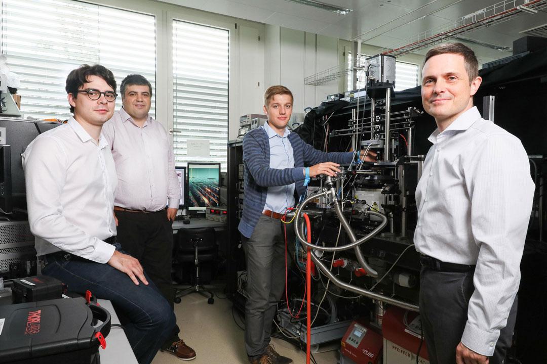 Alberto Ciarrocchi, Ahmet Avsar, Dmitrii Unuchek and Andras Kis.© A.Herzog, EPFL 2018 EPFL