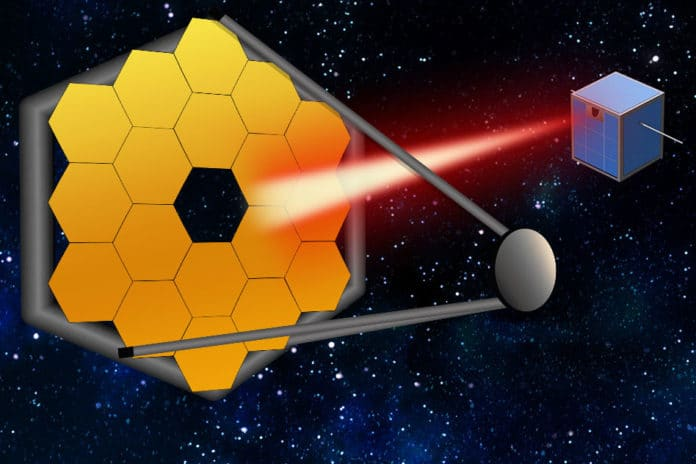 """In the coming decades, massive segmented space telescopes may be launched to peer even closer in on far-out exoplanets and their atmospheres. To keep these mega-scopes stable, MIT researchers say that small satellites can follow along, and act as """"guide stars,"""" by pointing a laser back at a telescope to calibrate the system, to produce better, more accurate images of distant worlds."""
