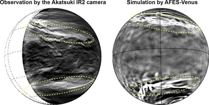 Figure 1: (left) the lower clouds of Venus observed with the Akatsuki IR2 camera (after edge-emphasis process). The bright parts show where the cloud cover is thin. You can see the planetary-scale streak structure within the yellow dotted lines. (right) The planetary-scale streak structure reconstructed by AFES-Venus simulations. The bright parts show a strong downflow. (Partial editing of image in the Nature Communications paper. CC BY 4.0)