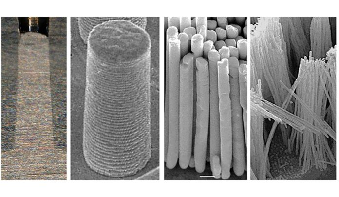 Silver nanorods made with thermomechanical molding, ranging in size from (left to right) 0.57 millimeters, 10 micrometers, 375 nanometers, and 36 nanometers. (Jan Schroers Lab)