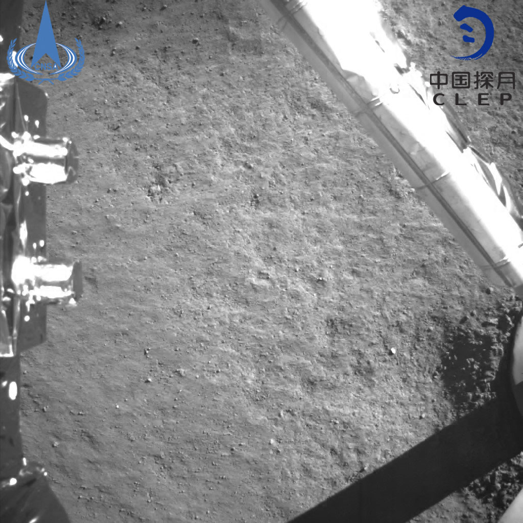 Photo provided by the China National Space Administration on Jan. 3, 2019 shows an image taken by China's Chang'e-4 probe after its landing. China's Chang'e-4 probe touched down on the far side of the moon Thursday, becoming the first spacecraft soft-landing on the moon's uncharted side never visible from Earth. The probe, comprising a lander and a rover, landed at the preselected landing area on the far side of the moon at 10:26 a.m. Beijing Time (0226 GMT), the China National Space Administration announced. (Xinhua)