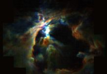 The powerful wind from the newly formed star at the heart of the Orion Nebula is creating the bubble (black) and preventing new stars from forming in its neighborhood. NASA/SOFIA/Pabst et. al