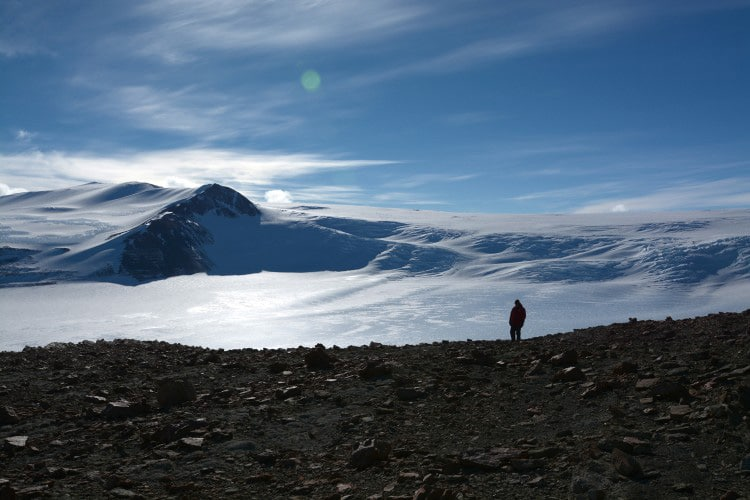 During their 2017-2018 Antarctic expedition, Sidor and his team returned to Graphite Peak, where Antarctanax was originally found and where, in 1967, the first vertebrate fossils were found on the continent.Christian Sidor/University of Washington