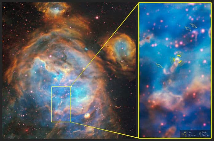 Deep within the glowing cloud of the HII region LHA 120-N 180B, MUSE has spotted a jet emitted by a fledgling star — a massive young stellar object . This is the first time such a jet has been observed in visible light outside the Milky Way. Usually, such jets are obscured by their dusty surroundings, meaning they can only be detected at infrared or radio wavelengths by telescopes such as ALMA. However, the relatively dust-free environment of the LMC allowed this jet — named Herbig–Haro 1177, or HH 1177 for short — to be observed at visible wavelengths. At nearly 33 light-years in length, it is one of the longest such jets ever observed. This annotated image shows a close-up of the jet source and the bow shocks formed by the jet interacting with surrounding gas. Credit: ESO, A McLeod et al.