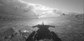 The dramatic image of NASA's Mars Exploration Rover Opportunity's shadow was taken on sol 180 (July 26, 2004), by the rover's front hazard-avoidance camera as the rover moved farther into Endurance Crater in the Meridiani Planum region of Mars. Credit: NASA/JPL-Caltech. was taken on sol 180 (July 26, 2004), by the rover's front hazard-avoidance camera as the rover moved farther into Endurance Crater in the Meridiani Planum region of Mars. Credit: NASA/JPL-Caltech.