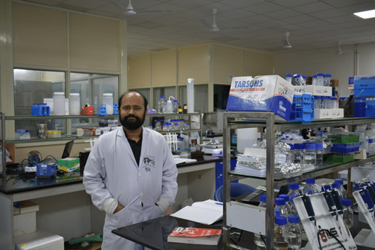Dr Rajanish Giri in his lab at IIT-Mandi