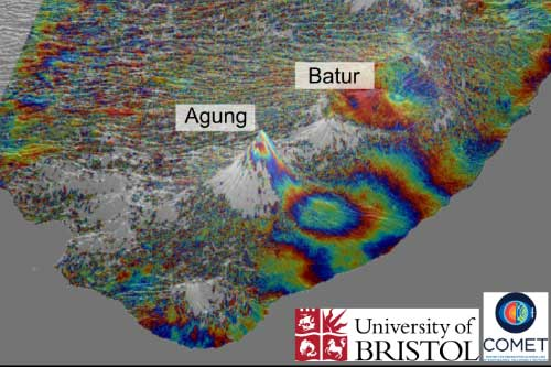Sentinel-1 InSAR data showing ground uplift on the flank of Agung volcano Picture by Fabien Albino, COMET, University of Bristol.