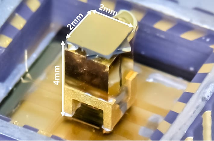 The integrated quantum package The quantum package of the proposed low-power atomic clock fits in a volume even smaller than the smallest atomic clocks currently available.