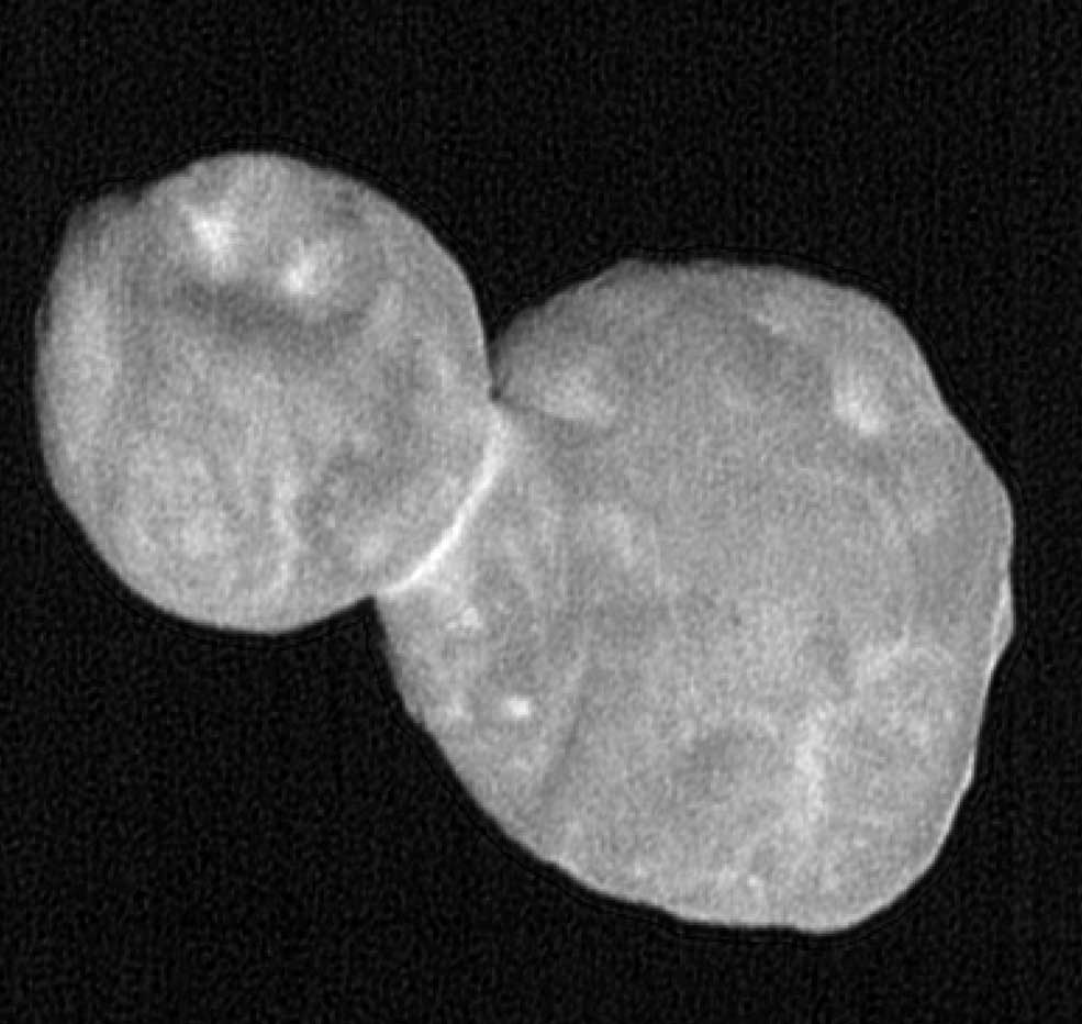 "This processed, composite picture combines seven individual images taken with the New Horizons Long Range Reconnaissance Imager (LORRI), each with an exposure time of 0.025 seconds, just 19 minutes before the spacecraft's closest approach to Ultima Thule (officially named 2014 MU69). The image was taken at 5:14 UT (12:14 a.m. EST) on Jan. 1, 2019, when the spacecraft was 10,350 miles (16,694 kilometers) from Ultima Thule and 4.1 billion miles (6.6 billion kilometers) from Earth. The angle between the spacecraft, Ultima Thule and the Sun – known as the ""phase angle"" – was 16 degrees. Credits: NASA/Johns Hopkins Applied Physics Laboratory/Southwest Research Institute, National Optical Astronomy Observatory"