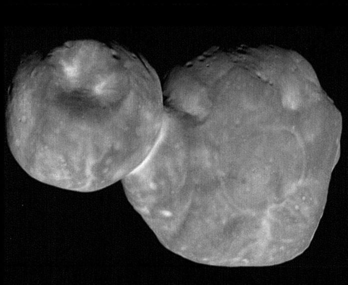 "The most detailed images of Ultima Thule -- obtained just minutes before the spacecraft's closest approach at 12:33 a.m. EST on Jan. 1 -- have a resolution of about 110 feet (33 meters) per pixel. Their combination of higher spatial resolution and a favorable viewing geometry offer an unprecedented opportunity to investigate the surface of Ultima Thule, believed to be the most primitive object ever encountered by a spacecraft. This processed, composite picture combines nine individual images taken with the Long Range Reconnaissance Imager (LORRI), each with an exposure time of 0.025 seconds, just 6 ½ minutes before the spacecraft's closest approach to Ultima Thule (officially named 2014 MU69). The image was taken at 5:26 UT (12:26 a.m. EST) on Jan. 1, 2019, when the spacecraft was 4,109 miles (6,628 kilometers) from Ultima Thule and 4.1 billion miles (6.6 billion kilometers) from Earth. The angle between the spacecraft, Ultima Thule and the Sun – known as the ""phase angle"" – was 33 degrees. Credits: NASA/Johns Hopkins Applied Physics Laboratory/Southwest Research Institute, National Optical Astronomy Observatory"