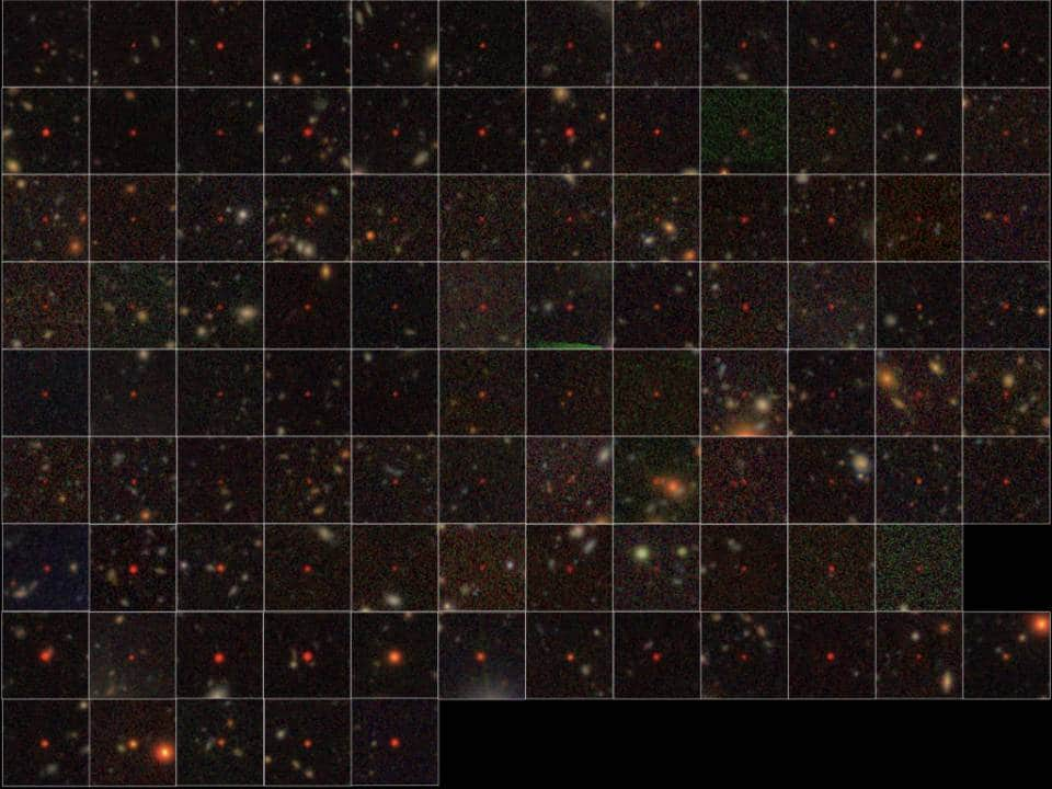 The 100 quasars identified from the HSC data. The top seven rows show the 83 newly discovered quasars while the bottom two rows represent 17 previously known quasars in the survey area. They appear extremely red due to the cosmic expansion and absorption of light in intergalactic space. All the images were obtained by HSC. Image courtesy of the National Astronomical Observatory of Japan