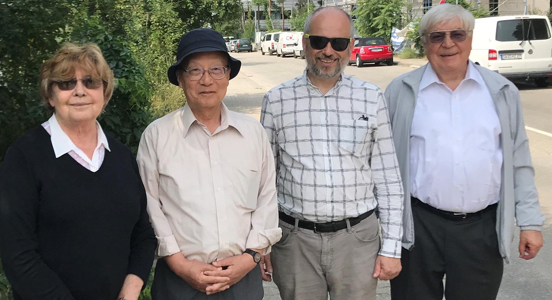 On the campus in Mainz: (left to right) Prof. dr. Margarita Ryutova, Prof. dr. Motohiko Yoshimura, host Prof. dr. Dmitry Budker and Prof. dr. Dmitry Ryutov