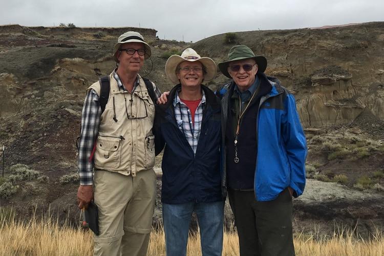 Jan Smit, Mark Richards and Walter Alvarez at the North Dakota site of dinosaur-killing meteor's first victims.