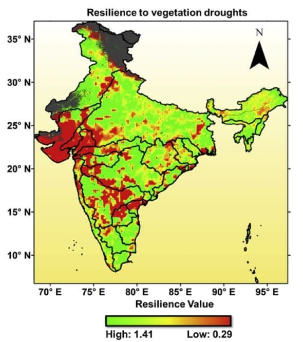 Spatial distribution of resilience values