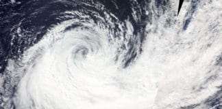 At 1:05 a.m. EDT (0505 UTC) on Sept. 28, the MODIS instrument aboard NASA's Terra satellite provided a visible image of Typhoon Haleh that revealed a clear eye and a powerful storm. Credit: NASA Worldview, Earth Observing System Data and Information System (EOSDIS)