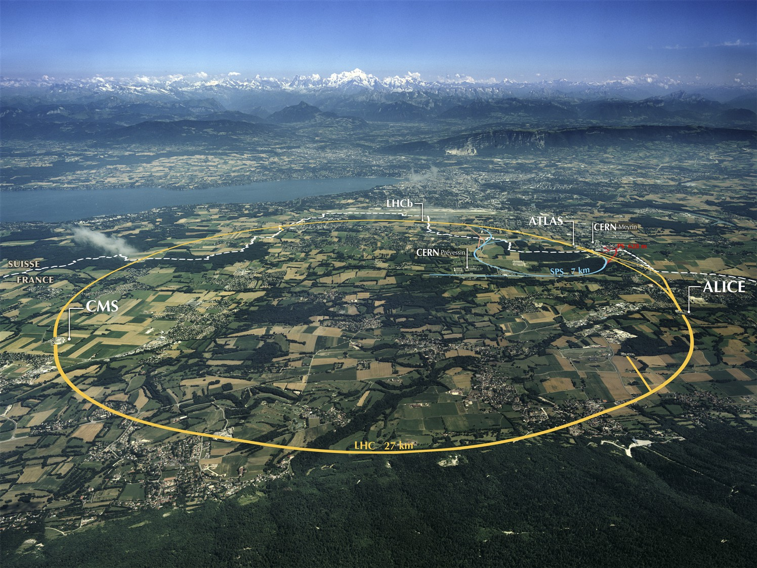 A 2008 aerial image of the LHC site, which straddles the border between France and Switzerland, with major LHC and CERN installations outlined and labeled.CERN