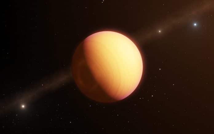This artist's impression shows the observed exoplanet, which goes by the name HR8799e. Credit: ESO/L. Calçada