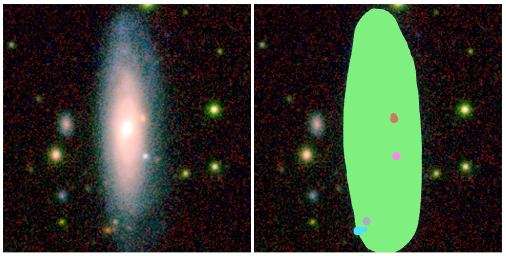 An image of an AstroQuest galaxy alongside how it looks in the AstroQuest platform once a citizen scientist has helped the computer to identify what belongs to the main galaxy and what doesn't. Credit: ICRAR/AstroQuest