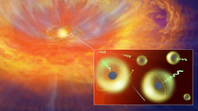 Artist's impression of a kilonova caused by a neutron star merger. In the material released by the merger, various heavy elements are formed, which then absorb and emit light. New atomic data calculations help to clarify kilonovae. Credit: National Astronomical Observatory of Japan