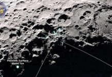 This LRO image shows areas of potential frost on the moon's surface. (Photo Credit: NASA's Goddard Space Flight Center/Scientific Visualization Studio)