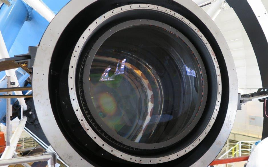 A view of the lenses in DESI's corrector. The largest lens measures over a meter across.