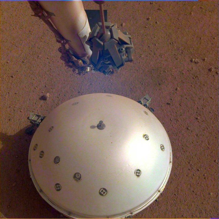 This image of InSight's seismometer was taken on the 110th Martian day, or sol, of the mission. The seismometer is called Seismic Experiment for Interior Structure, or SEIS. Credit: NASA/JPL-Caltech