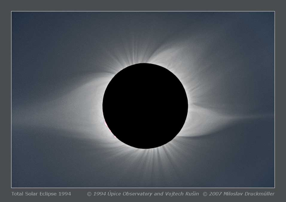 Mason searched for coronal rain in helmet streamers like the one that appears on the left side of this image, taken during the 1994 eclipse as viewed from South America. A smaller pseudostreamer appears on the western limb (right side of image). Named for their resemblance to a knight's pointy helmet, helmet streamers extend far into the Sun's faint corona and are most readily seen when the light from the Sun's bright surface is occluded. Credits: © 1994 Úpice observatory and Vojtech Rušin, © 2007 Miloslav Druckmüller